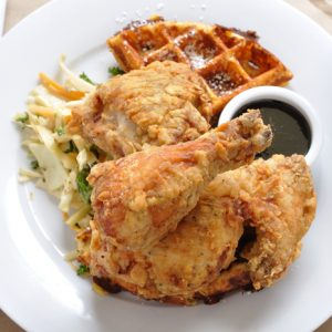 Buttermilk Chicken with Cheddar Waffles